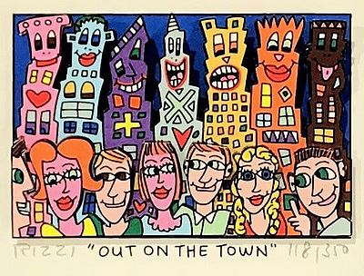 Merkzettel - James Rizzi - Out on the town